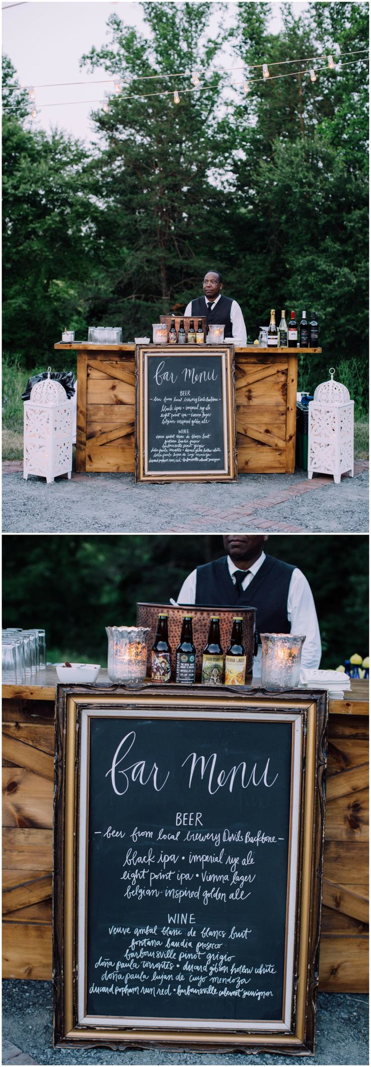 Wedding reception bar, wooden bar, chalkboard bar menu, beer and wine, white lanterns, bartender, happy hour // Agha Photo