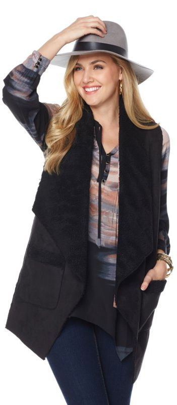 Layer on luxurious style with this faux suede vest from Melissa McCarthy! With an oversized shawl collar and exposed Sherpa lining, it's just the style upgrade your fall and winter wardrobe has been needing! How would you style this vest?