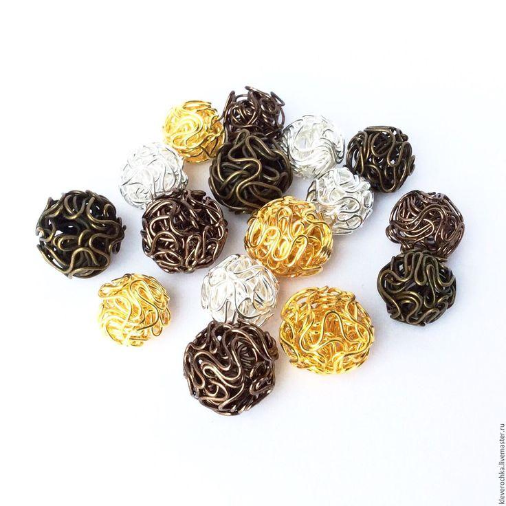 Купить Бусины проволочные 4 цвета шар металл см.описание и фото - серебряная фурнитура