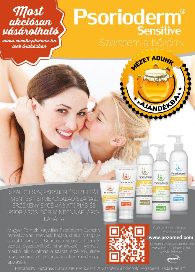 Vásároljon most Psorioderm Sensitive termékeket az Eventus Pharma Web Áruházban. Virágmézet adunk ajándékba! www.eventuspharma.hu