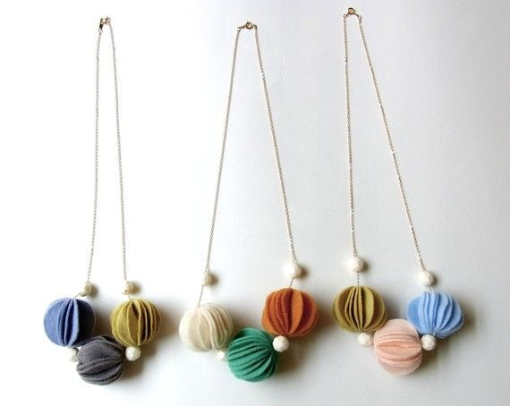 $29 felt ball necklace on Etsy... could I make it myself?