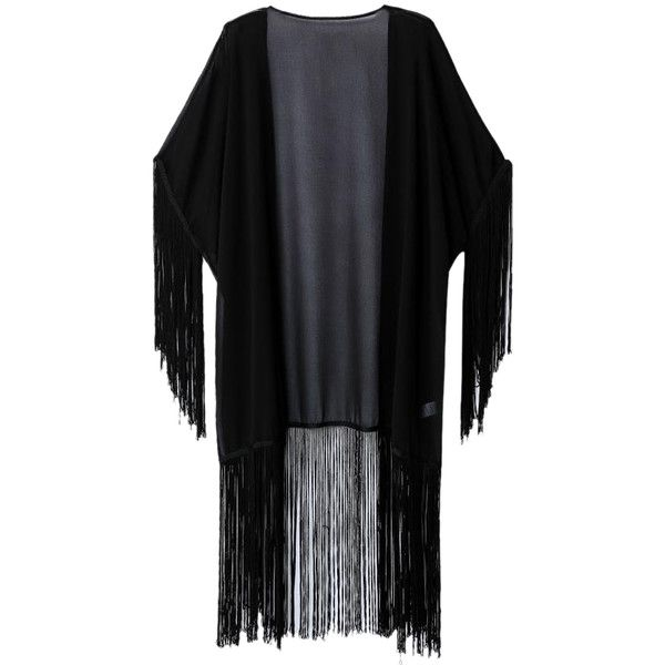 Black Fringe Tassel Kimono Coat (€26) ❤ liked on Polyvore featuring outerwear, coats, tassel kimono, kimono coat, fringe coat and fringe kimono