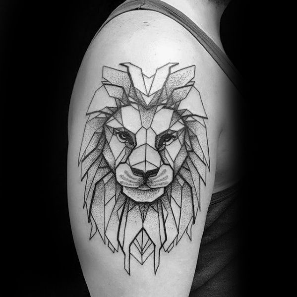 Sharp Upper Arm Geometric Lion Male Tattoo Ideas Geometric Lion Tattoo Geometric Lion Lion Shoulder Tattoo