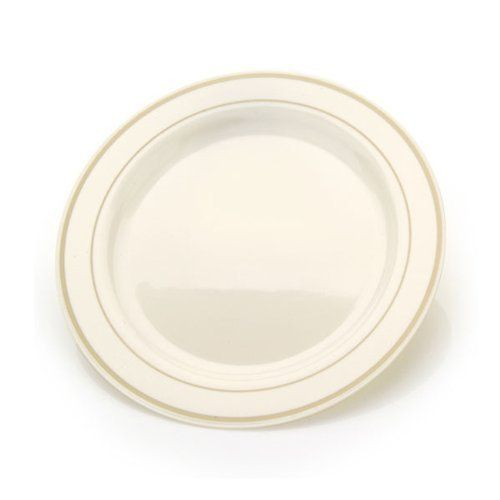 """Chinaware Ivory/Gold Plastic Plastic Plates 7.5'' - 10 Count by Blue Sky. $8.99. Reusable or Disposable - Dishwasher Safe. Resembles hand-painted china. Materials: Ivory / Gold Plastic. Combines beautiful shape and design with excellent quality and durability. 7.5""""  Diameter. Having a party or celebration? Use these Heavyweight China Like Plates to add a touch of class to any occasion. The ivory plates with their fine china are a great addition to any table. The plates have a ..."""