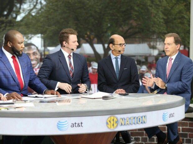 Nick Saban on the set of SEC Nation before the Tennessee game, with Paul Finebaum, Greg McElroy, and Marcus Spears. - photo via al.com 10-24-15 Alabama vs Tennessee photos #Alabama #RollTide #BuiltByBama #Bama #BamaNation #CrimsonTide #RTR #Tide #RammerJammer #NickSaban