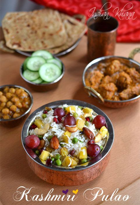 Kashmiri Pulao Recipe  Aromatic, mild, sweet and unique Kashmiri Pulao.  Great for party, lunch box, Diwali lunch or dinner or for any festival dinner menu.