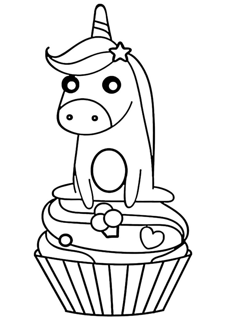 Sweet Unicorn | Cupcake coloring pages, Unicorn coloring ...
