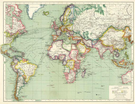 Mejores 86 imgenes de maps vintage mapstiqued world map world map printable digital downloadntage world map gumiabroncs Images