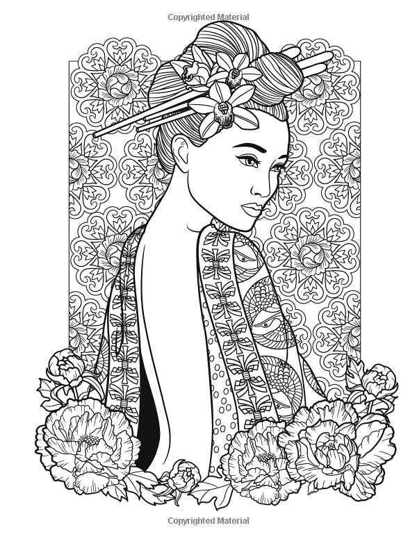 Amazon com flowers fashion women of the world coloring book 9781537068114