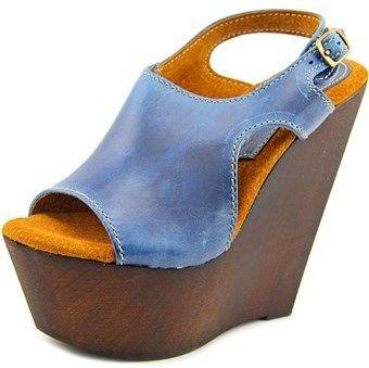 Sbicca Mercer Women Open Toe Leather Blue Wedge Sandal.