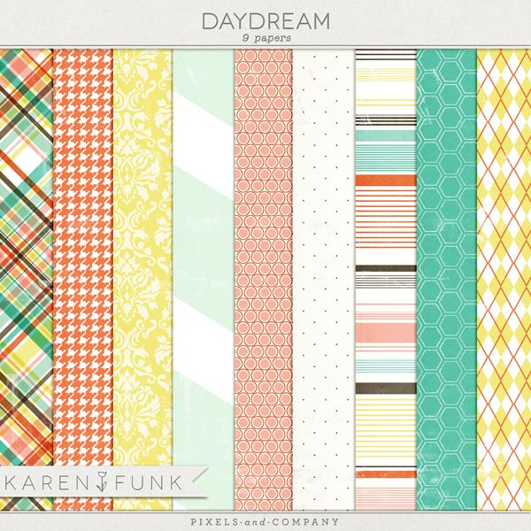"Free ""Daydream"" printable digital paper set by Karen Funk"