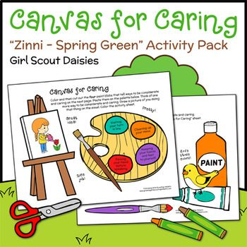 Girl Scout Daisies - Zinni the Zinnia - Spring Green Petal Badge -  Daisies identify ways to be considerate and caring with a set of paint-themed activity sheets. Afterward, they practice sharing art supplies by finishing Goldfinch's tree or completing leaf texture rubbings.