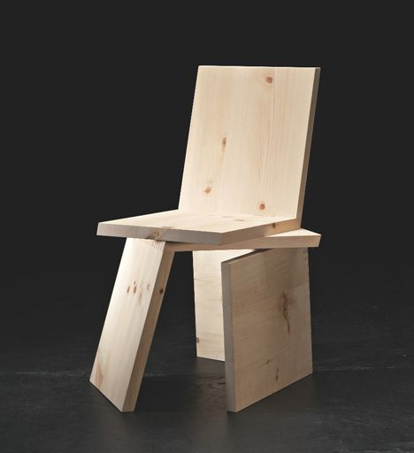 """Rolf Sach's brilliant 3 Equal Parts #chair, """"an academic exercise in deconstructivism,"""" consisted of three L-shaped pieces made from #SwissStonePine. All three pieces areidentical, and the user can configure the chair in a couple of different ways."""