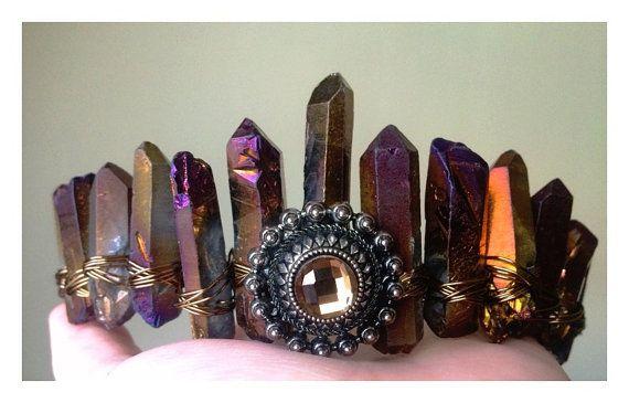Crystal Crown, Mermaid kroon, bruids tiara, bruids kroon, haarjuwelen, kwarts kroon, kwarts tiara