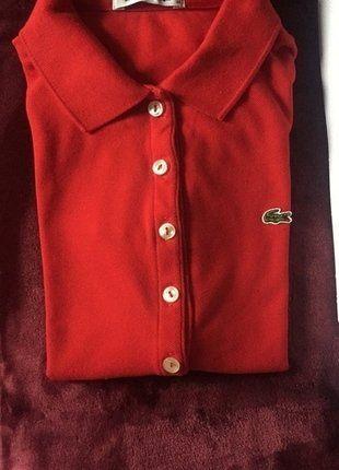 À vendre sur #vintedfrance ! http://www.vinted.fr/mode-femmes/autres-hauts/27292200-polo-lacoste-rouge-croco-vert