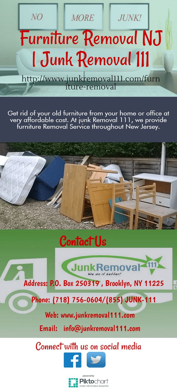 Get rid of your old furniture from your home or office at very affordable cost. At junk Removal 111, we provide furniture Removal Service throughout New Jersey, Brooklyn and New York. Visit at http://www.junkremoval111.com/furniture-removal