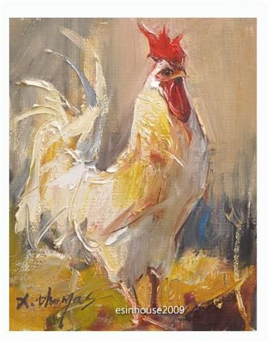 """Daily Paintworks - """"8x10""""Original Oil Painting Rooster Art Chicken Hen Barn impressionism Artwork"""" - Original Fine Art for Sale - © Thomas Xie"""