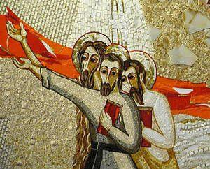 Crucifixion, chapelle du séminaire de Badin, Slovaquie © Aimable concession du P. Marko Rupnik, Centro Aletti, Rome.