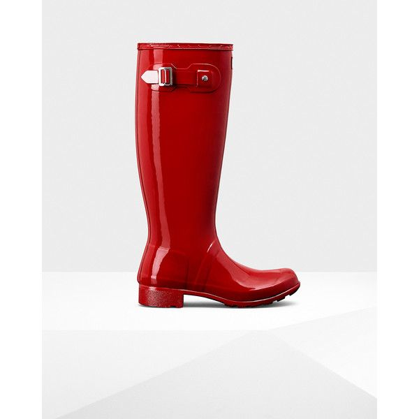 Hunter Women's original tour gloss rain boots ($150) ❤ liked on Polyvore featuring shoes, boots, military red, red rain boots, hunter boots, red boots, wellington boots and red shoes