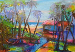 Tobago Painting - Beach House by Cynthia McLean