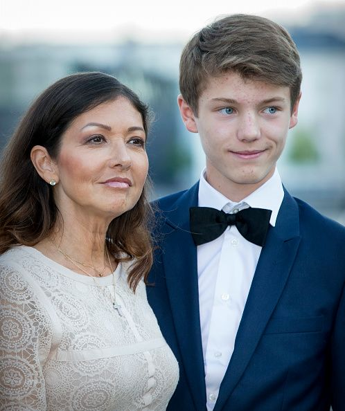 Countess Alexandra of Denmark with her younger son Prince Felix of Denmark attend the 18th birthday celebration of her older son Prince Nikolai at royal ship Dannebrog on August 28, 2017 in Copenhagen, Denmark.