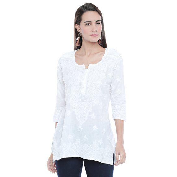 Ladies tops Indian Lucknow White  ethnic Chikankari Hand Embroidery kurtaKurtisTopTunic  wear womenladiesgirls Plus Size also available