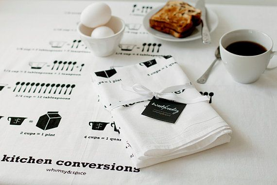 Kitchen Conversions Tea Towel - Kitchen Accessories -  30 x 30 floursack Kitchen Towel: Kitchens, Conversion Tea, Tea Towels, Sweet Fine, Conversions Tea, Floursack Tea