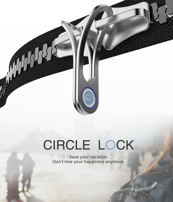 When you're in a busy place, it's easy for a thief to open the zipper and take out stuff. The Circle Lock hopes to remedy this situation by integrating a finger-scanner-sensor to the zipper lock.