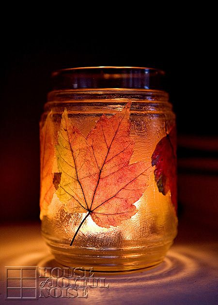 Candle holder with fall leaves <3