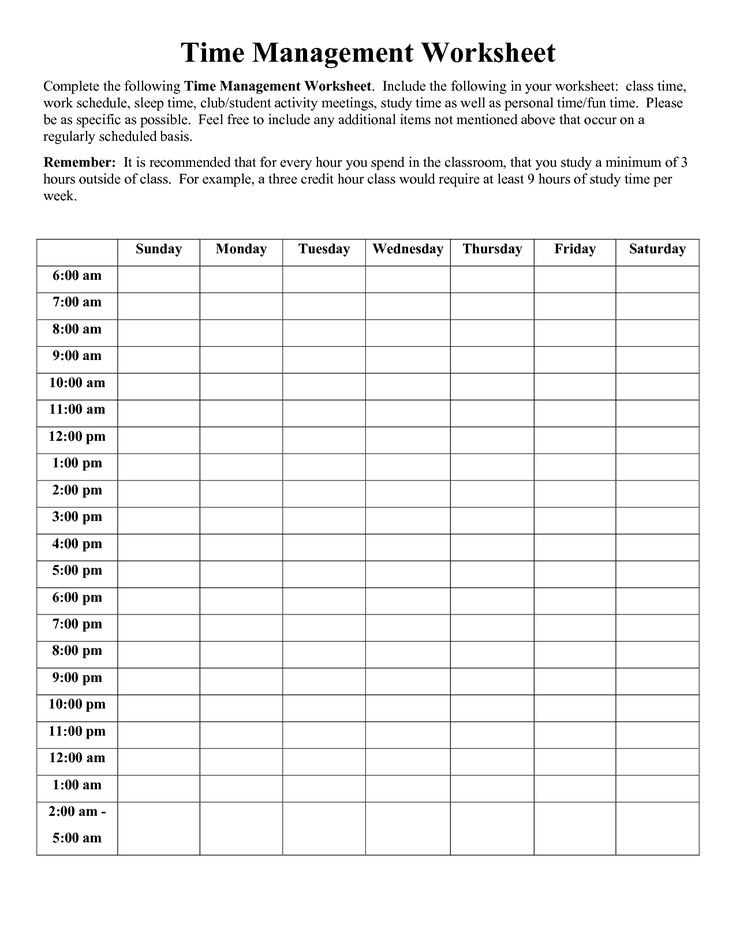Time Management Worksheet Pdf Sophia Time Management