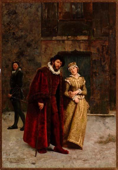 Padre e hija. Pintura de Pedro Lira.