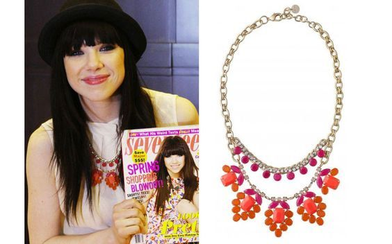 Carly Rae Jepsen wearing the Spring Awakening Necklace by Stella & Dot www.stelladot.fr/zabou #zabou #chanteuse #canada #canadianidol #stelladotstyle #collier #CarlyRaeJepsen