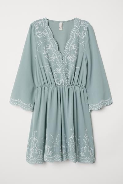 5d3580b0668 Dress with Embroidery - Dusky green - Ladies