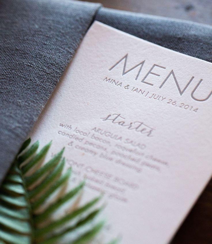 Elegant letterpress wedding reception menu Gray ink