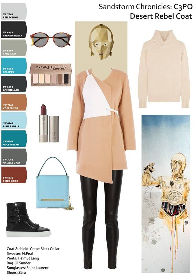 """Get the look at : https://www.facebook.com/crepe.black.collar.ro #Sandstorm #Chronicles.is a how-to series for those in need of #inspiration. Because the #FW15 collection was influenced by the #StarWars series, we will feature its main characters. First one is """"How to wear brown"""", #C3PO is wearing the #Desert #Rebel #coat from #CrepeBlackCollar, #N.Peal sweater #HelmutLang pants #SaintLaurent glasses #Zara shoes #brown #teal #outfitpost #geek Print by David Kraig, poster by Tim Lautensack"""