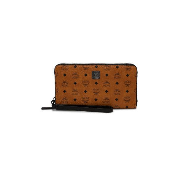 Mcm Nomad v Zip Around Xlg  Passport Holder ($495) ❤ liked on Polyvore featuring bags, wallets, 5466-305658, cognac, cognac leather wallet, leather zip around wallet, coin wallet, leather bags and brown wallet