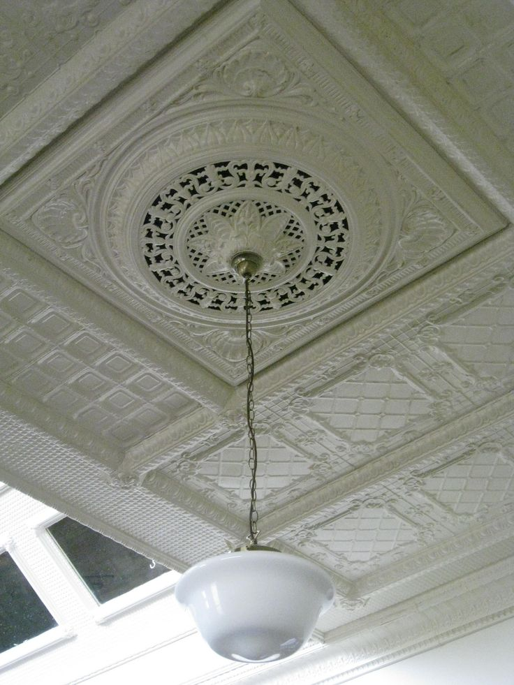 A Light Fixture and a Section of the Art Nouveau Pressed Metal Ceiling in the Restaurant of the Korumburra Railway Station - Station Street, Korumburra |