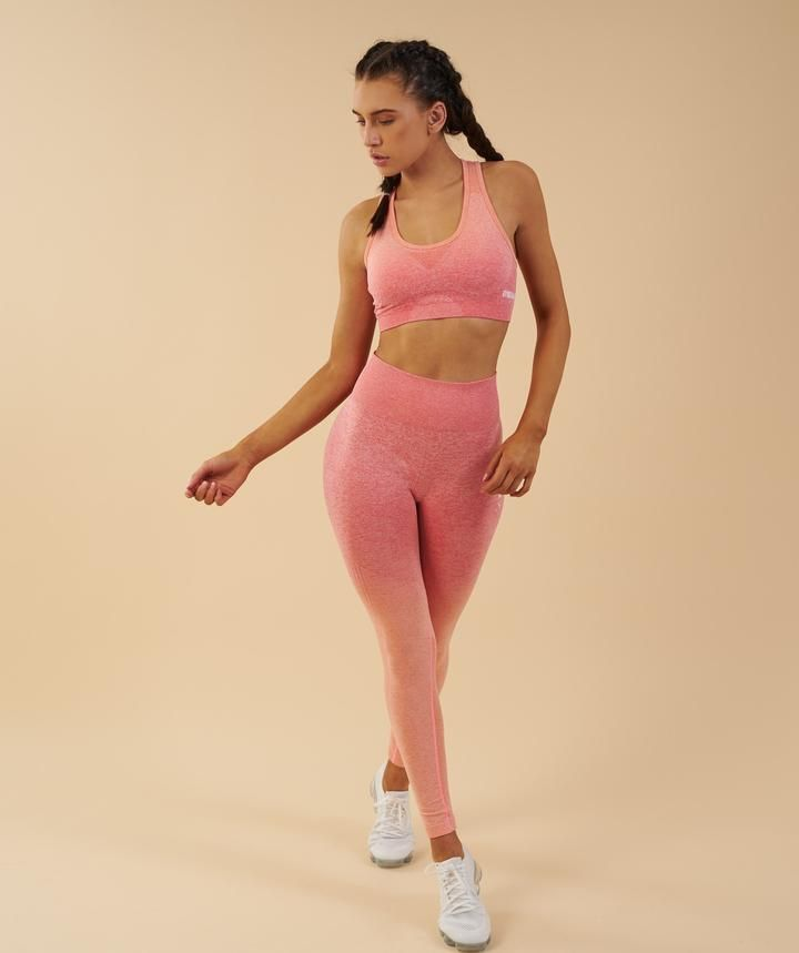 7d8ecb231d012 Gymshark Ombre Seamless Sports Bra - Peach Coral in 2019 ...