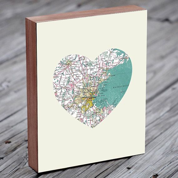 Boston Art City Heart Map  Wood Block Art Print by LuciusArt, $39.00, need to figure out how to make this on my own