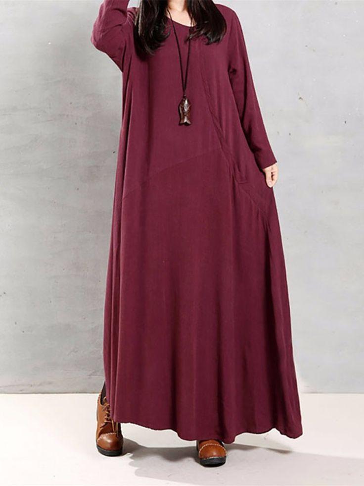 Women Vintage Cotton Tunic Baggy Long Sleeve Maxi Dress