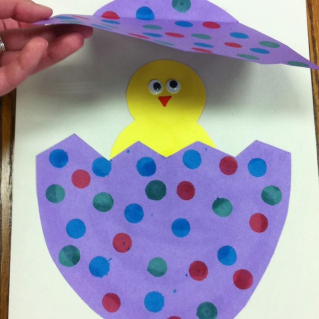 "Hatching egg craft for ""Easter"" story time."