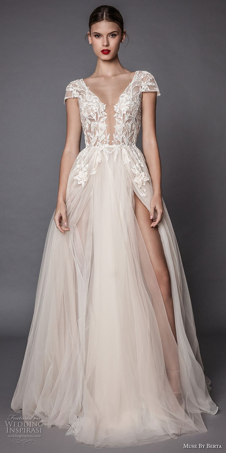 Muse by Berta fall 2017 bridal cap sleeves deep plunging v neck heavily embellished bodice lace tulle skirt high side slit romantic sexy a  line wedding dress open low back sweep train (antonia) mv #wedding #bridal #weddingdress