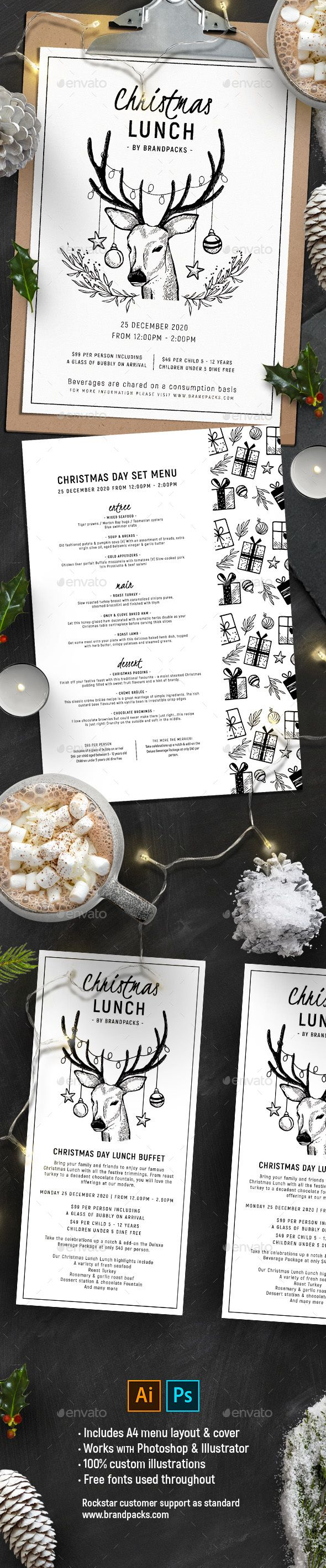 #Christmas #Menu Vol. 2 - #Food Menus Print Templates