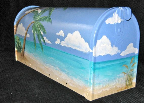 Tropical Beach Scene Hand Painted Mailbox by DancingBrushes, $115.00