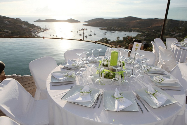 Tables set waiting for the sunset in Kea island (Greece).Aigis Suites-Wedding at Aigis Suites,Kea ,Cyclades,Hellas,Greece,Summer