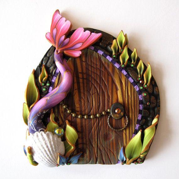 Pink mermaid tale fairy door pixie portal mermaid fairy for Rainbow fairy door