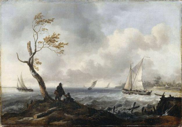 Ludolf Backhuysen (1631-1708) | Bâteaux de pêche et cabotier par gros temps, dit Le Coup de vent, 1677 | Huile sur toile