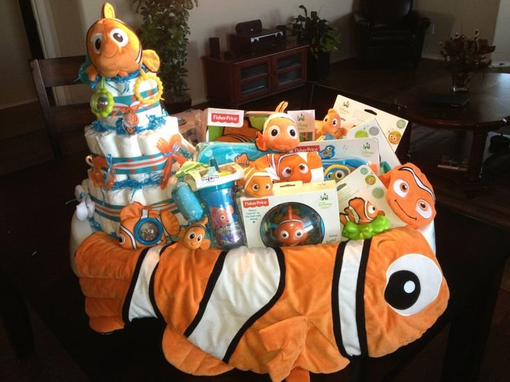 finding nemo baby shower gift including a diaper cake all sitting in