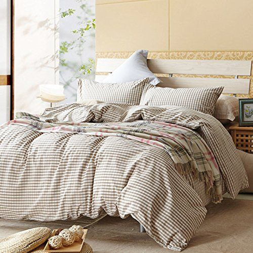 TheFit Paisley Textile Bedding for Adult U617 Brown Small Checkered and Cool Duvet Cover Set 100% Washed Cotton, Twin Queen King Set, 3-4 Pieces (King) //Price: $181 & FREE Shipping //     #bedding sets