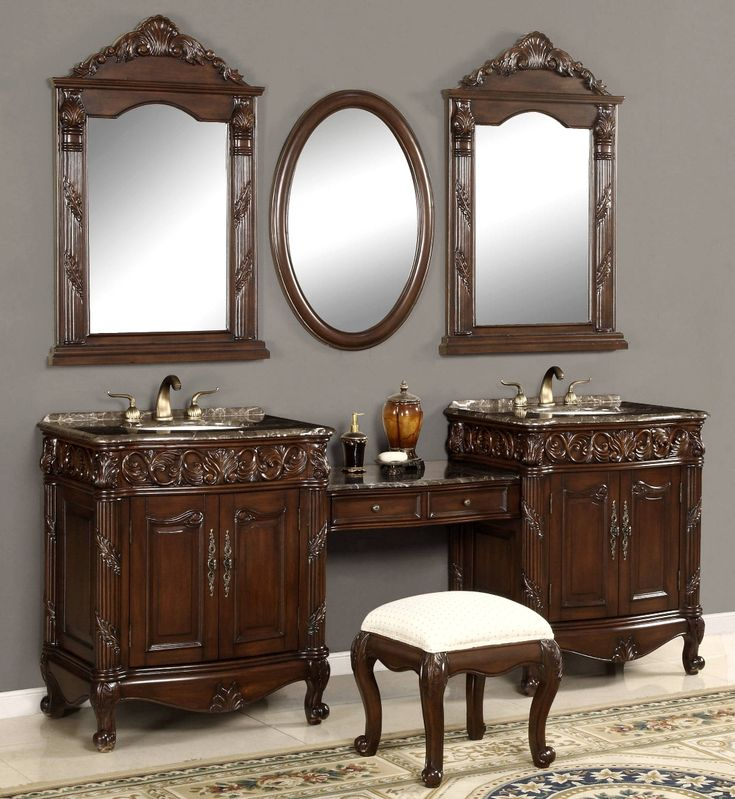 Elegant Unique Double Vanity Sink | 87 Inch Double Vanities | Vanity Make Up Stool
